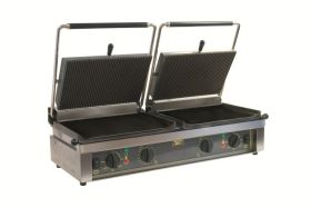 Roller Grill D'PANINI L Large Double - Ribbed Top & Flat Base Plates Contact Grill