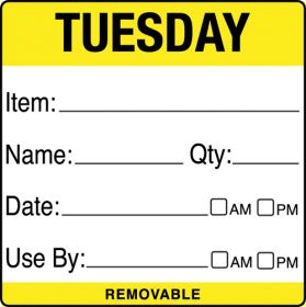 Tuesday item/date/use by 50x50mm Food Labels. 500 per roll