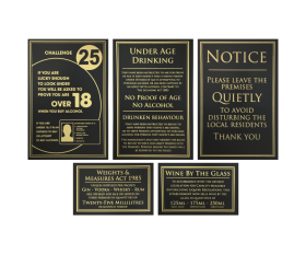 Essential Bar Licensing Sign Pack of 5 Signs Black & Gold