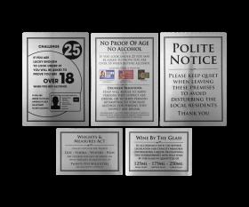 Essential Bar Licensing Sign Pack of 5 Signs Silver & Black EMBLPK