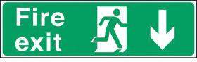 Fire exit arrow down. 150x450mm F/P