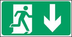 Exit man arrow down. 150x300mm S/A