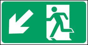 Exit man arrow down left. 150x300mm S/A