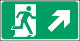 Exit man arrow up right. 150x300mm S/A