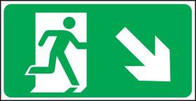 Exit man arrow down right. 150x300mm S/A