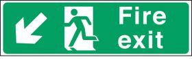 Fire exit arrow down left. 150x450mm S/A