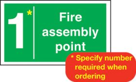 Fire assembly point with number. 400x600mm S/A