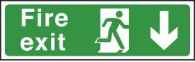 Large Fire exit arrow down. 400x1200mm . E/R