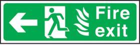 Fire exit arrow left Hospital. 150x450mm P/L