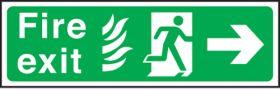 Fire exit arrow right Hospital. 150x450mm P/L