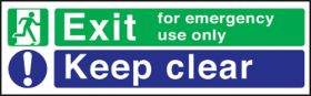 Emergency exit keep clear. 2 colour 150x450mm. F/P