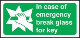 In case of emergency break glass for key. 100x200mm P/L