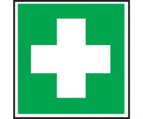 First Aid Symbol Sign 100x100mm Self Adhesive