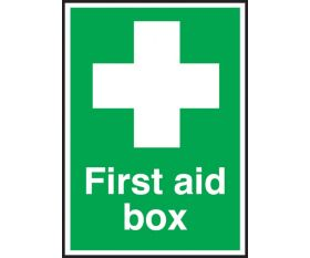 First Aid Box Sign 150x100mm Self Adhesive