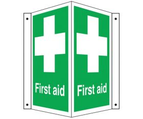 First Aid Symbol & Text Projecting Sign 300x220x170mm
