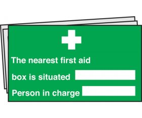 The Nearest First Aid box is situated Signs Pack of 10