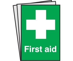 First Aid Text & Symbol Notices. Pack of 10