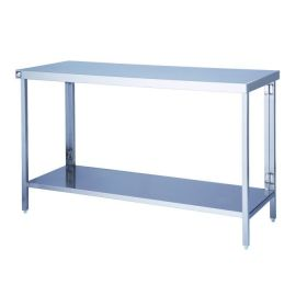 Parry FTAB - Stainless Steel Flatpack Table With Shelf - 1300(W) x 600(D) x 900(H) mm