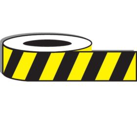 Yellow/black stripe adhesive floor tape. 50mm x 33metres
