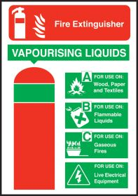 Extinguisher safety vapourising liquid sign 200x140mm