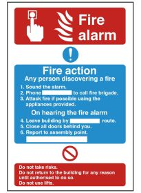 Fire alarm/fire action. 300x200mm F/P
