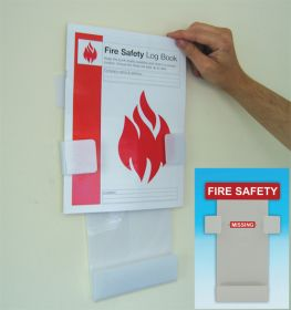 Fire safety log book holder.