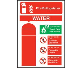 Water Fire Extinguisher Equipment Sign 200x140mm