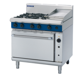 Blue Seal Evolution G56C - Gas 4 Burner Range, 300mm Griddle with Gas Convection Oven 900mm