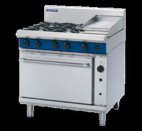Blue Seal Evolution - 4 Burner Range, 300mm Griddle with Gas Convection Oven 900mm G56C - LPG Gas