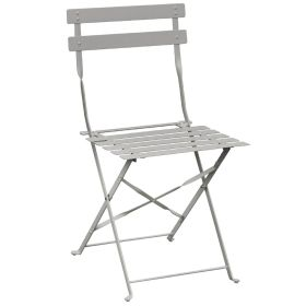 Bolero Pavement Style Steel Chairs Grey (Pack of 2)  GH551