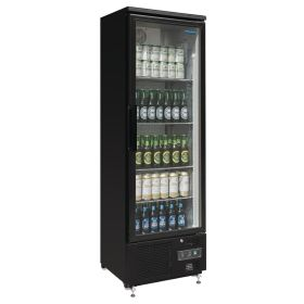 Polar GJ447 Upright Back Bar Cooler with Hinged Door in Black 307Ltr