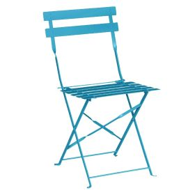 Bolero Pavement Style Steel Chairs Seaside Blue (Pack of 2)  GK982