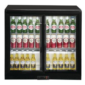 Polar GL003 - Bar / Bottle Cooler - Double Sliding Doors, Black, LED