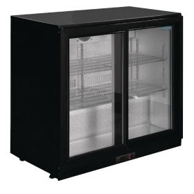 Polar GL010 Back Bar Cooler with Sliding Doors in Black 198Ltr