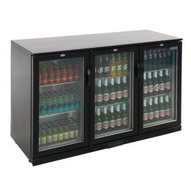 Polar GL004 Back Bar Cooler with Hinged Doors in Black 330Ltr