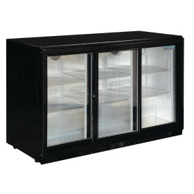 Polar GL006 Back Bar Cooler with Sliding Doors in Black 330Ltr