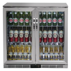 Polar GL008 Back Bar Cooler with Hinged Doors in Stainless Steel 208Ltr