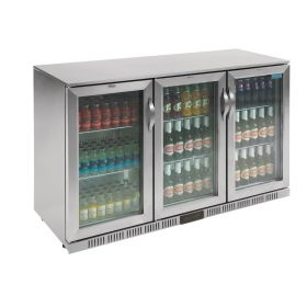 Polar GL009 Back Bar Cooler with Hinged Doors in Stainless Steel 330Ltr