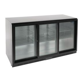 Polar GL013 Back Bar Cooler with Sliding Doors in Black 320Ltr