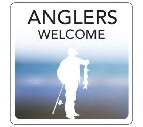 Anglers Welcome Hospitality Window Sticker. 150x150mm