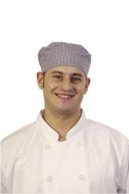 Chef's Skull Cap Blue & White Small Check