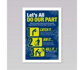 Coronavirus Prevention Sticker - Catch It, Kill It, Bin It - A4