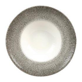 Churchill Studio Prints Raku Round Wide Rim Bowls White & Quartz Black 240mm - HC774 - pk 12