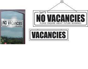 Vacancies / Sorry No Vacancies Hanging Sign. 140x440mm