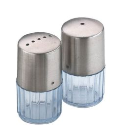Sunnex Condiment Set Stainless Steel To & Clear Base  6.5cm