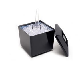 Square Plastic Ice Bucket Black