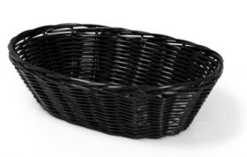 "Rattan Basket Oval 18cm / 7"" Black"