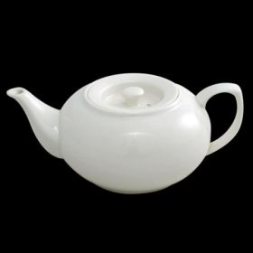 2 to 3 Cup White Porcelain Ball Teapot Stackable 500ml / 17.5oz - Orion C88137