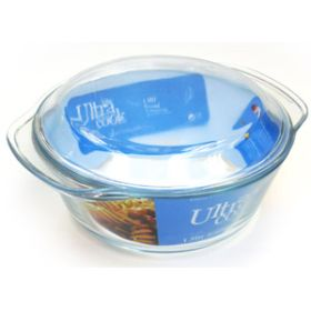 Ultracook Round Glass Casserole Dish With Lid 1.5 Ltr