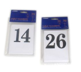 Table Number Cards - 26 To 50